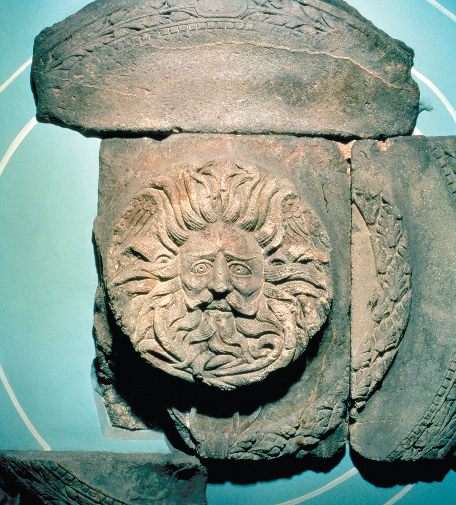 A relief from a pediment to a temple in Bath, England, thought to show a gorgon's head, late first century CE