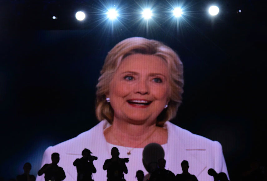 Hillary Clinton addresses delegates on the fourth and final night of the Democratic National Convention, Philadelphia, Pennsylvania, July 28, 2016