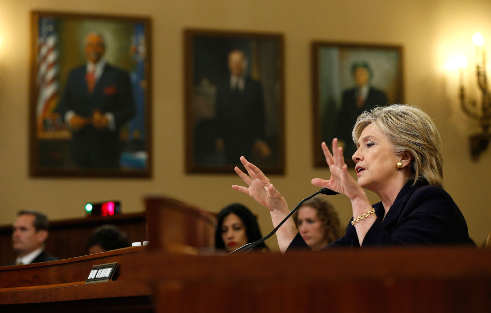 Hillary Clinton testifying before the House Select Committee on Benghazi, Washington, D.C., October 22, 2015
