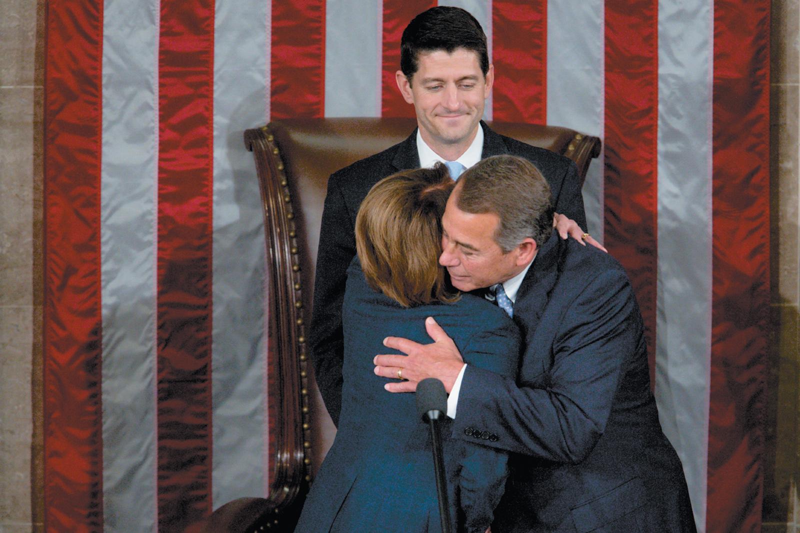 Republican Speaker of the House John Boehner with Democrat Nancy Pelosi, the House minority leader, as he passed the speakership to fellow Republican Paul Ryan, Washington, D.C., October 2015