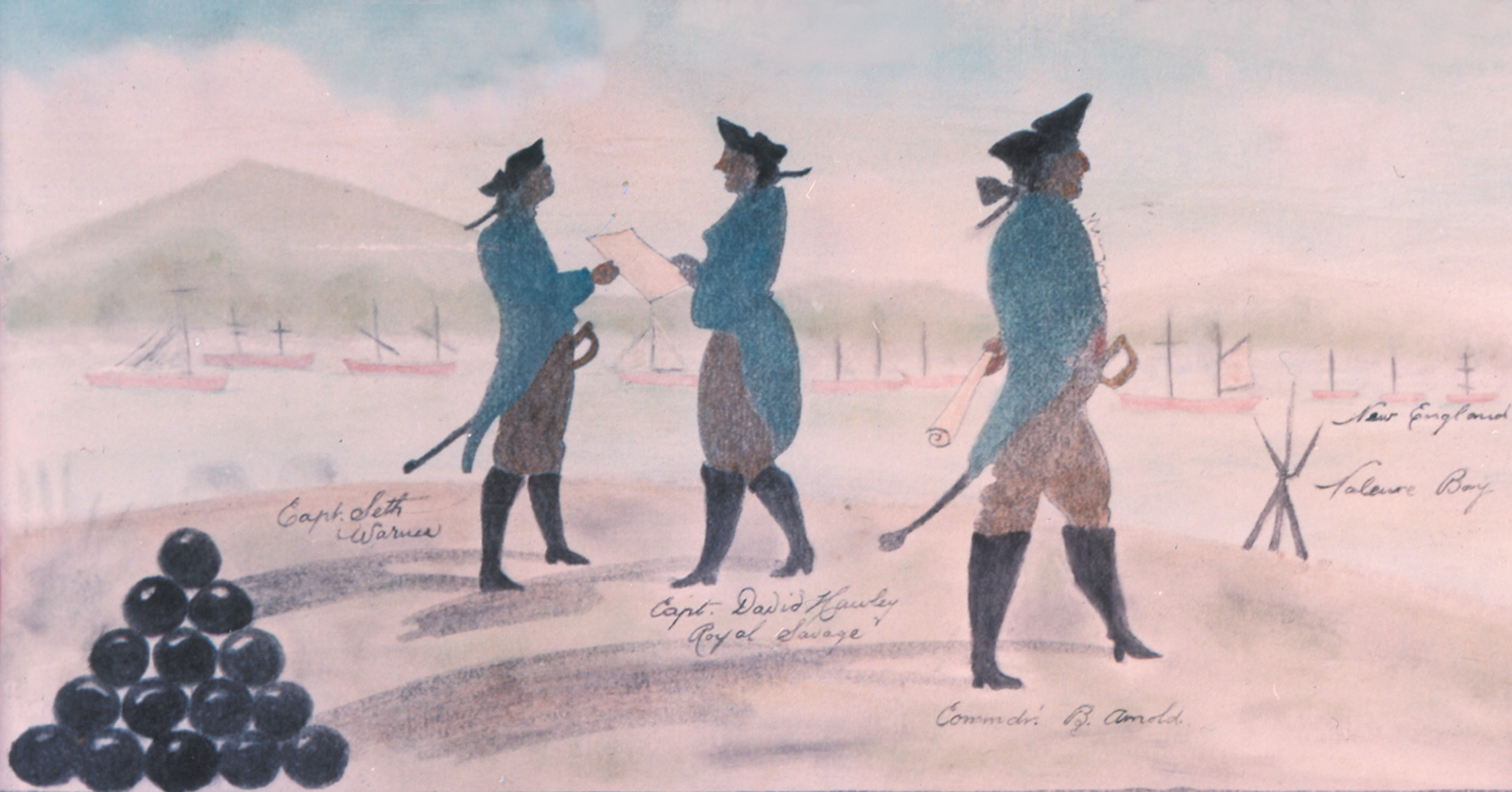Benedict Arnold (right) and other American officers at the Battle of Valcour Island, Lake Champlain, October 1776; detail of a drawing by Charles Randle, from Nathaniel Philbrick's Valiant Ambition