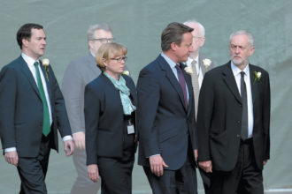 UK Chancellor of the Exchequer George Osborne, House of Lords shadow leader Angela Evans Smith, Prime Minister David Cameron, and Labour leader Jeremy Corbyn at a memorial service for Labour MP Jo Cox, St. Margaret's Church, Westminster Abbey, London, June 2016