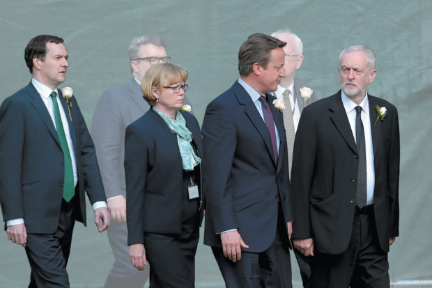 UK Chancellor of the Exchequer George Osborne, House of Lords shadow leader Angela Evans Smith, Prime Minister David Cameron, and Labour leader Jeremy Corbyn at a memorial service for Labour MP Jo Cox, St. Margaret's Church, Westminster Abbey, London, J