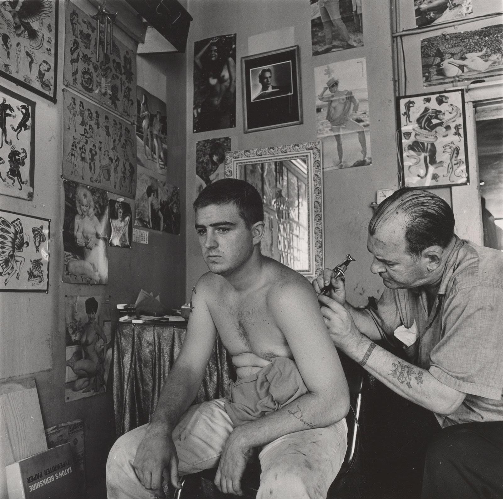 Danny Lyon: Bill Sanders, Tattoo Artist, Houston, Texas, 1968