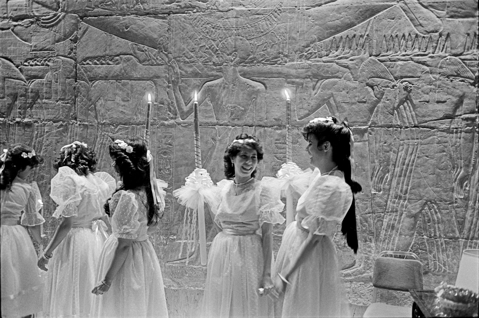 Maids of honor at an upper-class wedding in Cairo, 1987