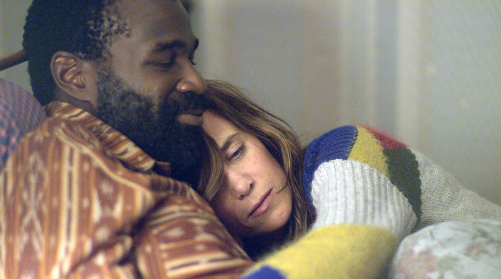 Tunde Adebimpe as Mo and Kristen Wiig as Polly, in Silva's Nasty Baby, 2015