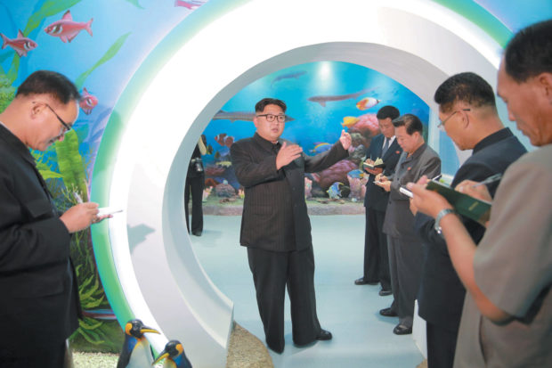 North Korean leader Kim Jong-un inspecting the remodeled Manyongdae children's camp in Pyongyang; undated photograph released by North Korea's official Korean Central News Agency on June 4, 2016