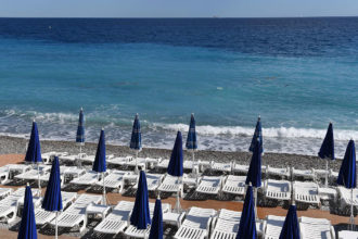 Empty beach chairs on the Promenade des Anglais, a day after the Bastille Day attack, Nice, France, July 15