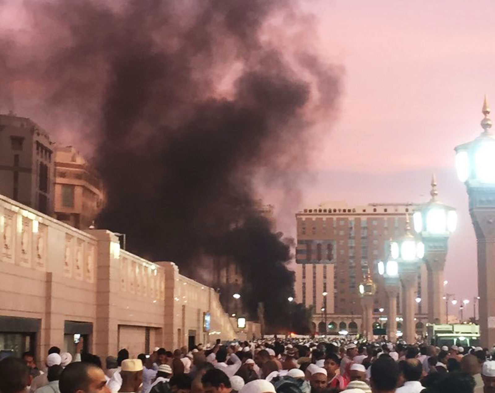 Smoke from a bomb attack near the Mosque of the Prophet, Medina, Saudi Arabia, July 4, 2016