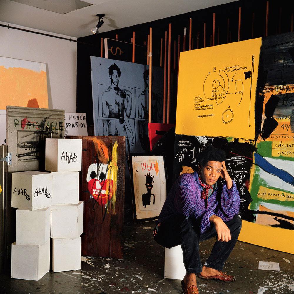 Jean Michel Basquiat in his Great Jones Street studio, New York, 1987