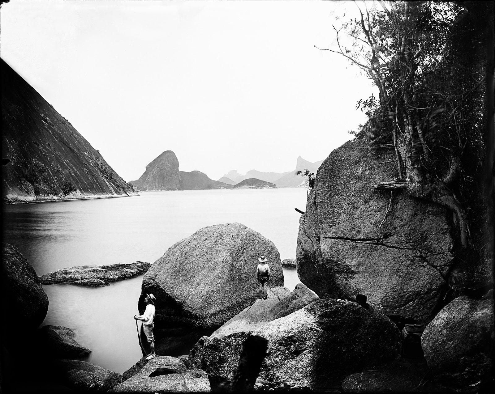 Entrance to Guanabara bay from Adão e Eva (Adam and Eve Beach), Niterói, circa 1890