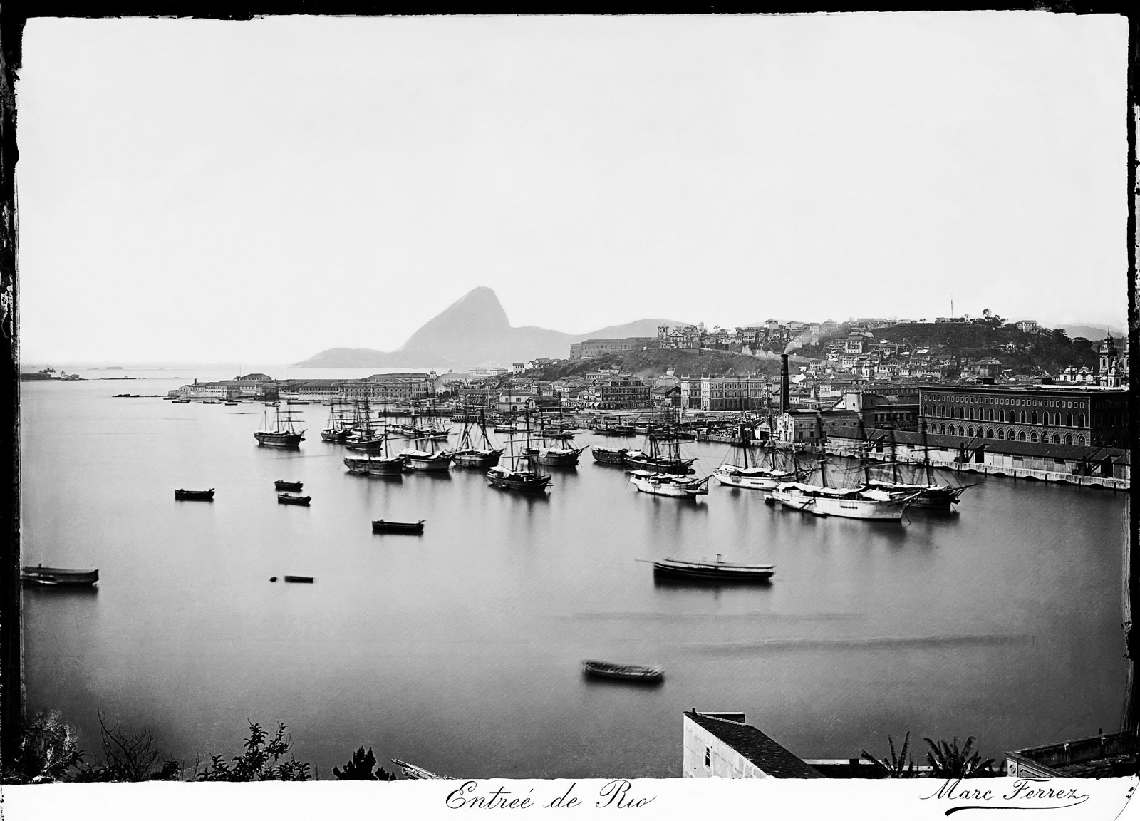 View from Cais Pharoux (Pharoux Quay) with Castelo Hill and Sugarloaf Mountain in the background, circa 1875