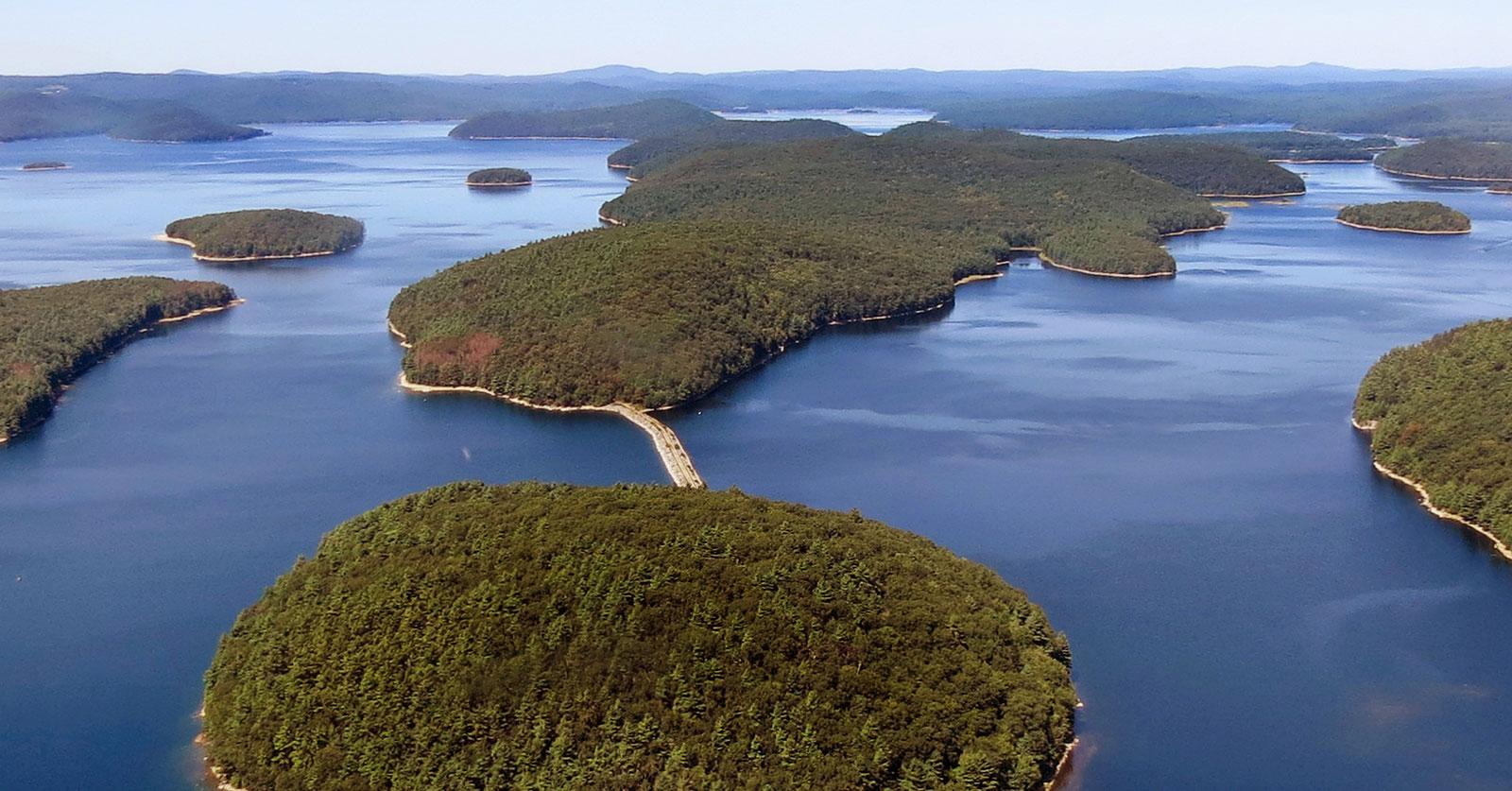 Mount Zion Island, at rear, at the Quabbin Reservoir, Petersham, Massachusetts, September 6, 2013