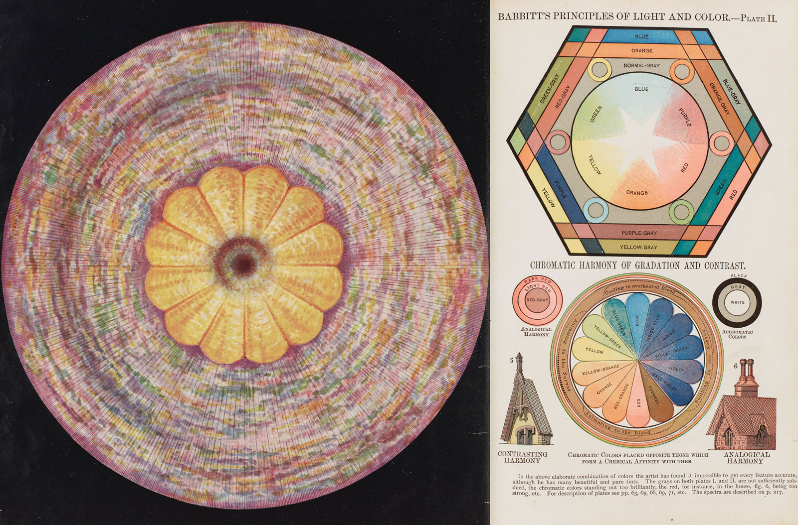 "An illustration of ""The Crown Chakra"" from The Chakras: A Monograph, by Rt. Rev. C. W. Leadbeater, 1927, left; a page from Edwin D. Babbitt's The Principles of Light and Color, 1878, right"