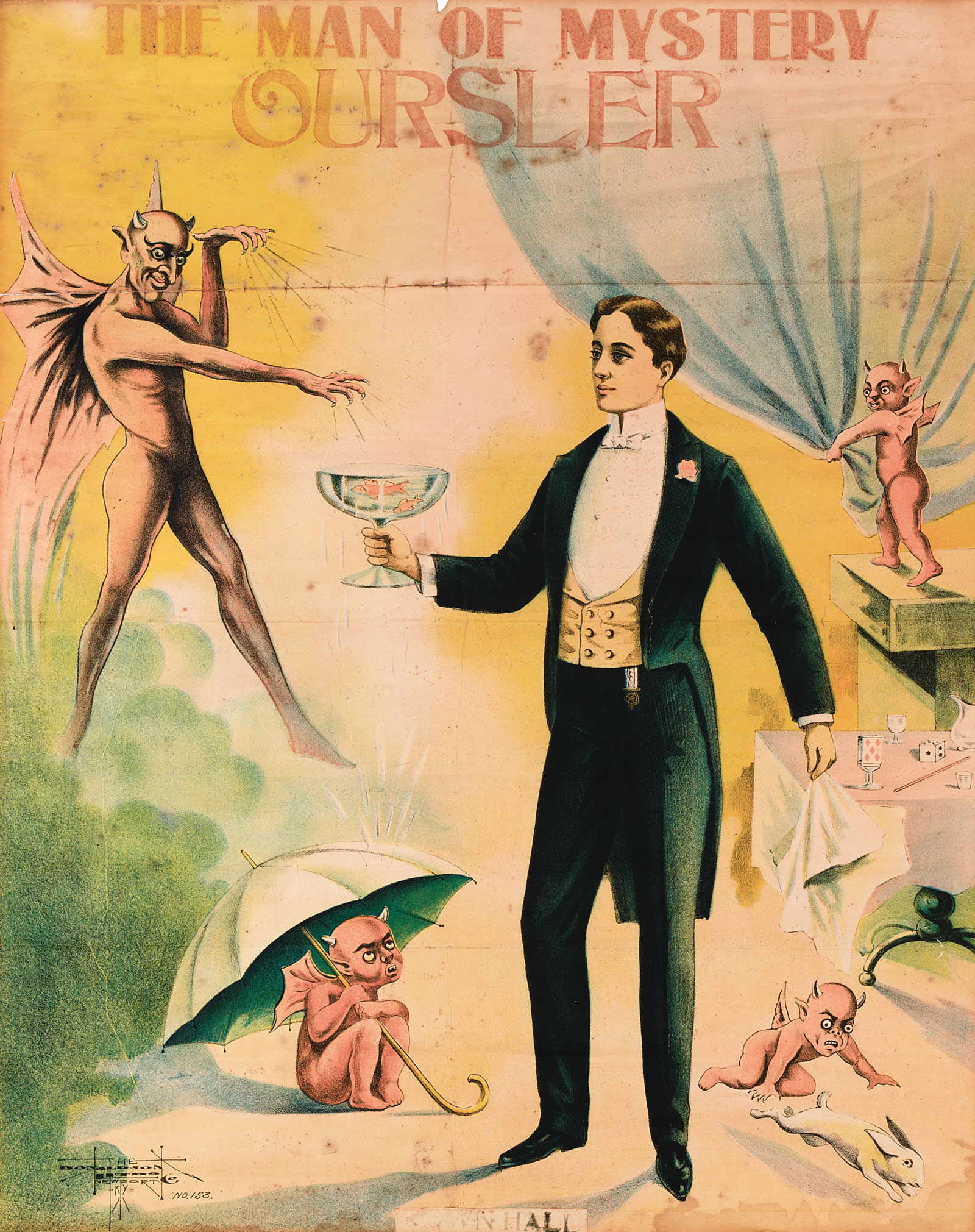 A poster for stage magician Fulton Oursler, circa 1920