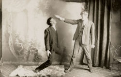 A man attempting to control his subject through hypnosis, nineteenth century