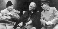Winston Churchill, Franklin Delano Roosevelt, and Joseph Stalin at Yalta, February 1945