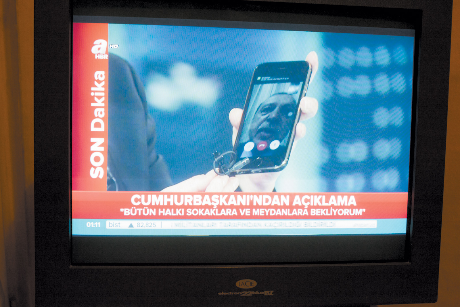 President Erdoğan 'calling everyone to the streets and city squares' in a televised appeal to the Turkish public via a smartphone during the attempted coup, July 2016