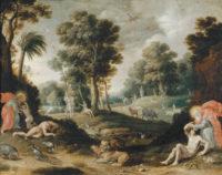 'The Creation of Adam and Eve'; Flemish school, seventeenth century