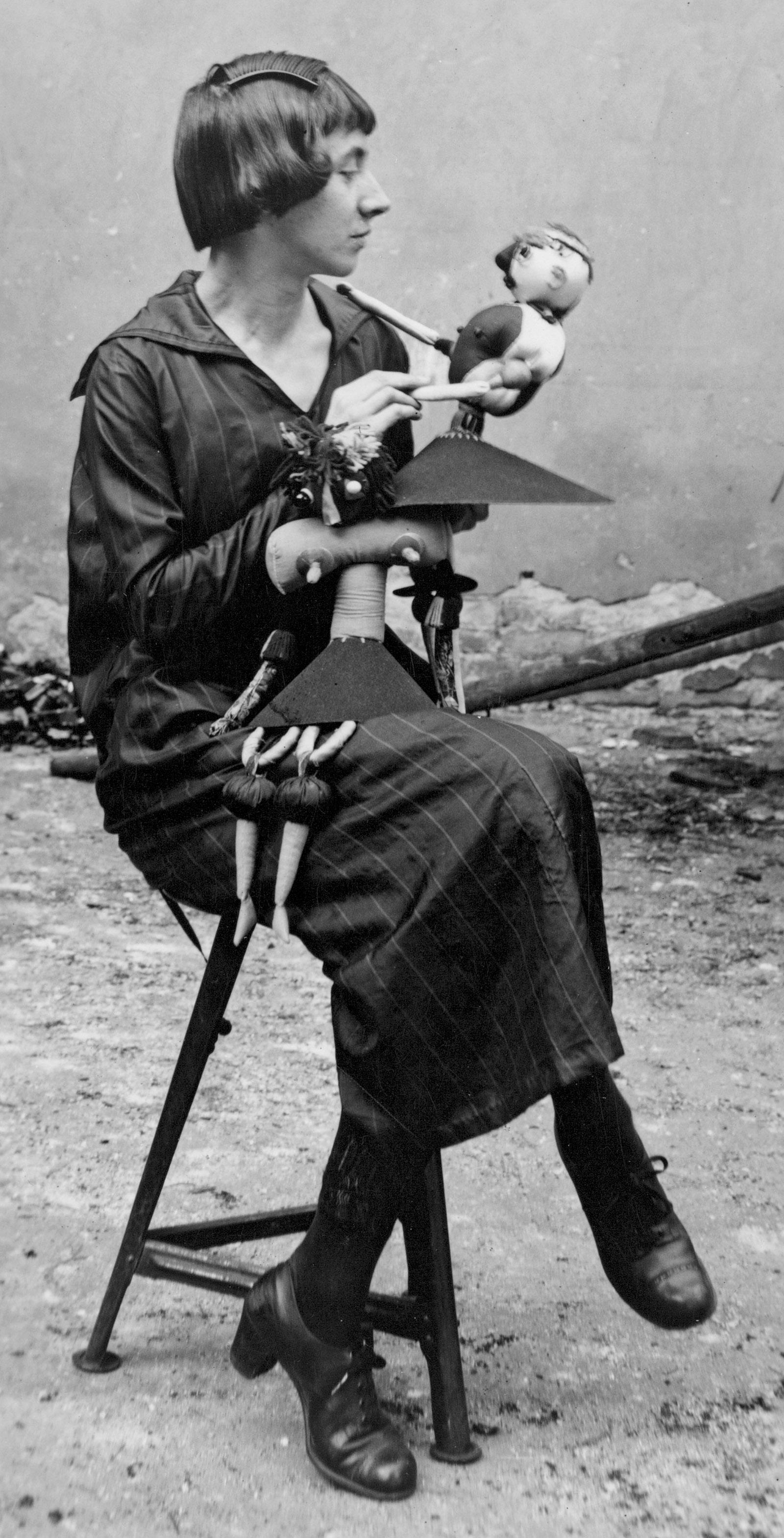 Hannah Höch with Dada puppets, Berlin, 1920