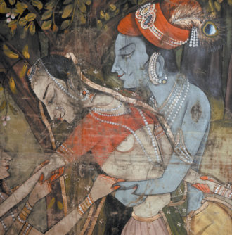 Krishna dancing with one of his gopis; detail from a nineteenth-century Indian wall hanging
