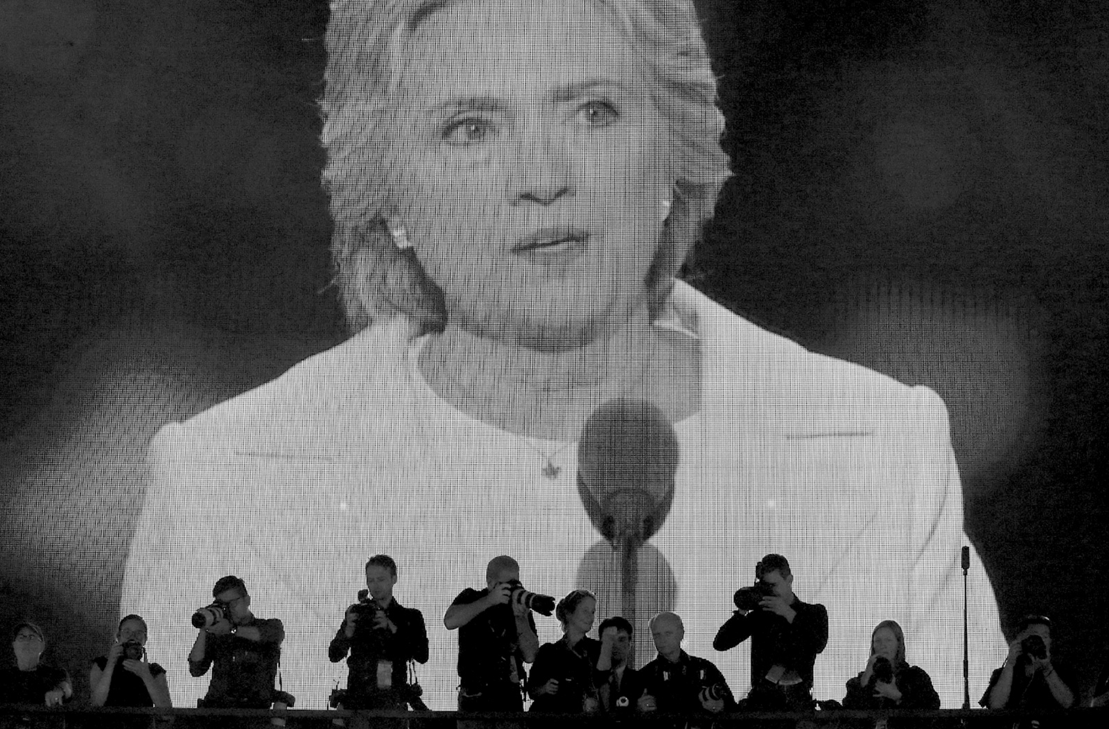 Photographers covering Hillary Clinton's acceptance speech on the last night of the Democratic National Convention, Philadelphia, July 2016