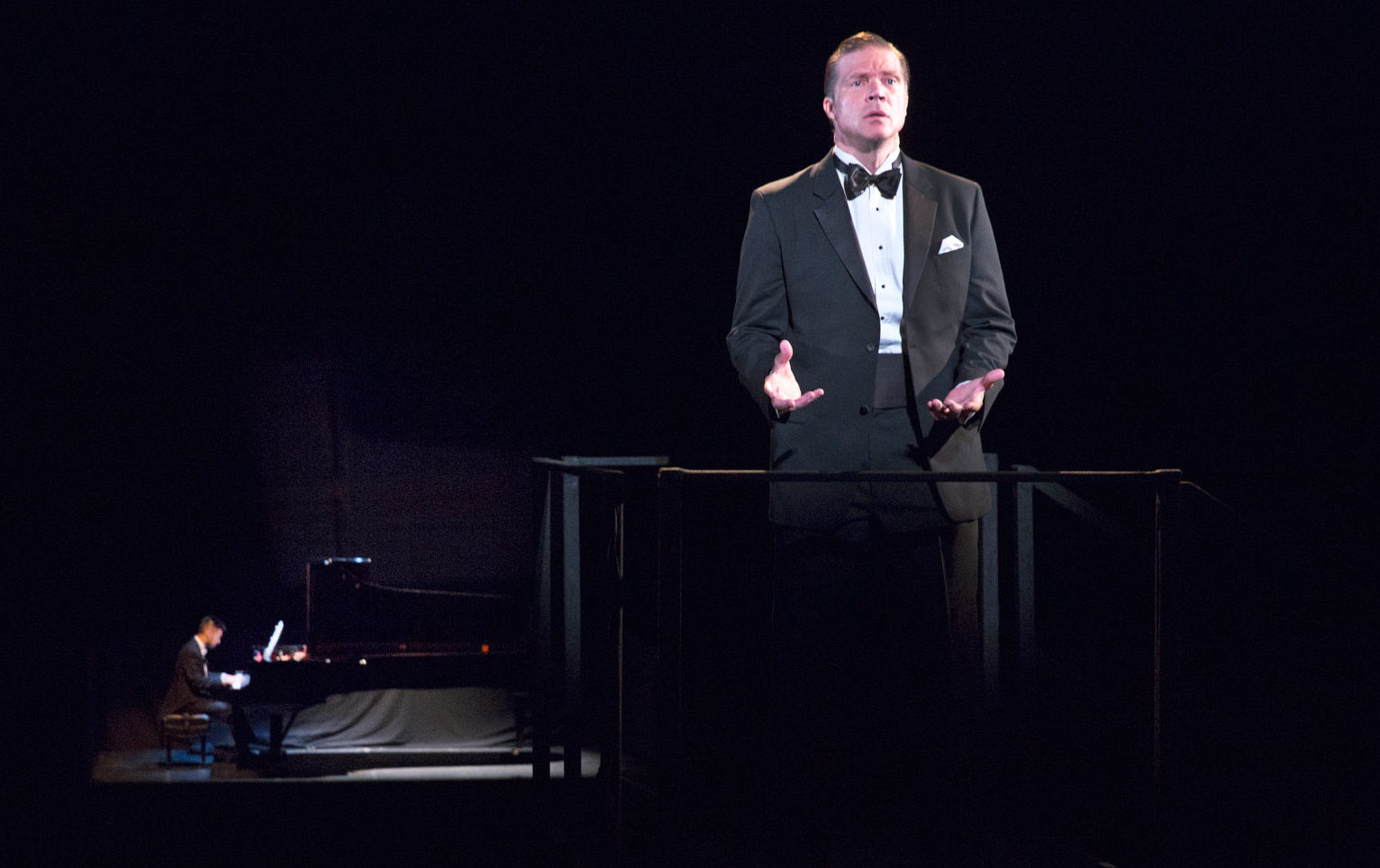 Conrad Tao and Rod Gilfry in the world premiere of David Lang's The Loser at the Brooklyn Academy of Music, 2016