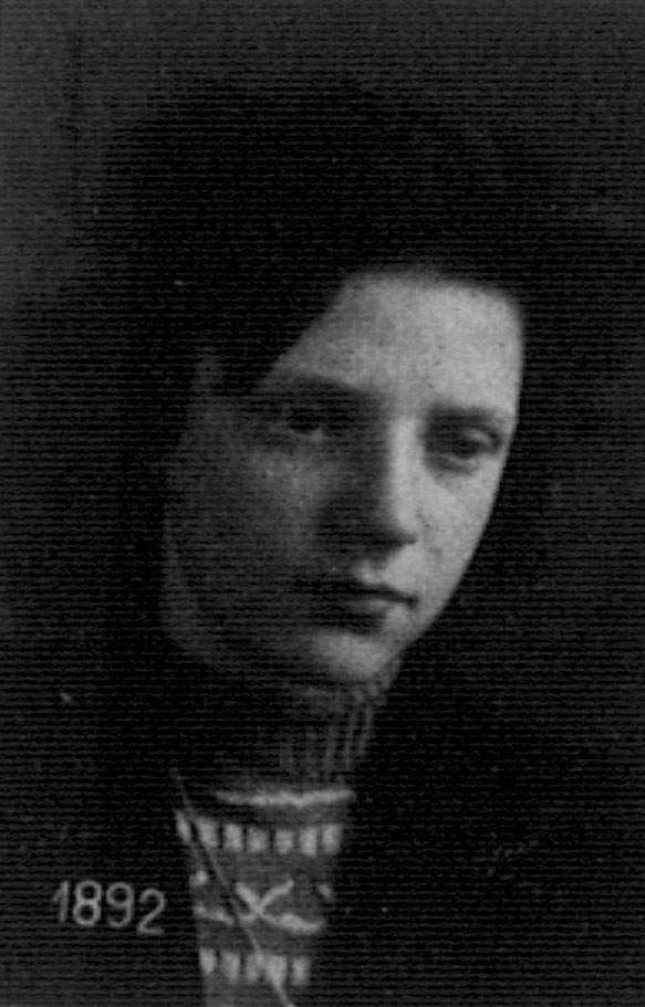 """Golda """"Goldi"""" Petzenbaum, photographed by the Swiss Police after she entered Switzerland, near the town of Bruzella, November 11, 1943"""