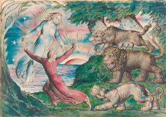 William Blake: Dante Running from the Three Beasts, 1824–1827