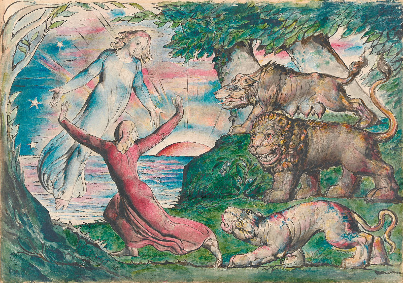 William Blake: Dante Running from the Three Beasts, 1824–1827