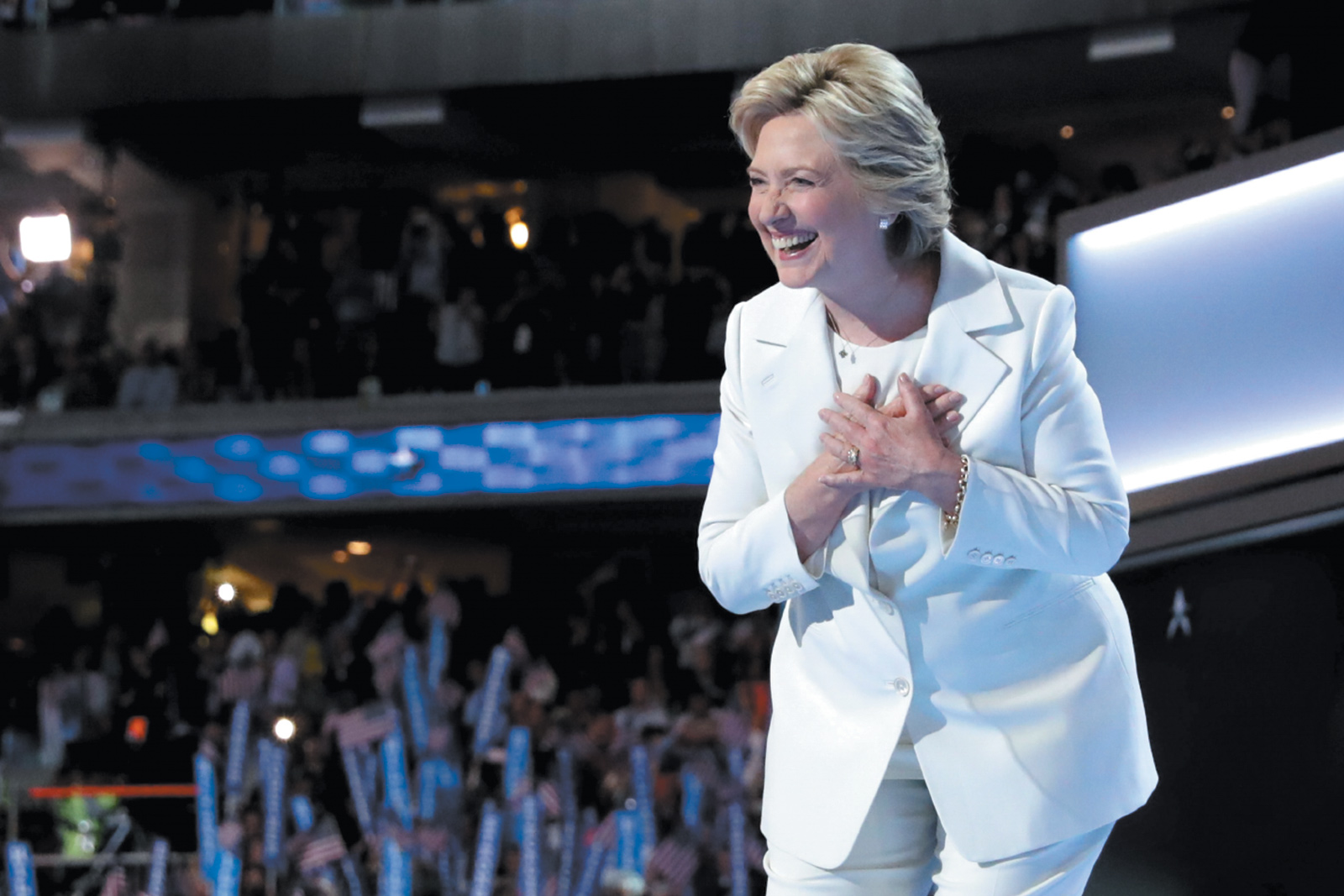 Hillary Clinton on the last night of the Democratic National Convention, Philadelphia, July 2016