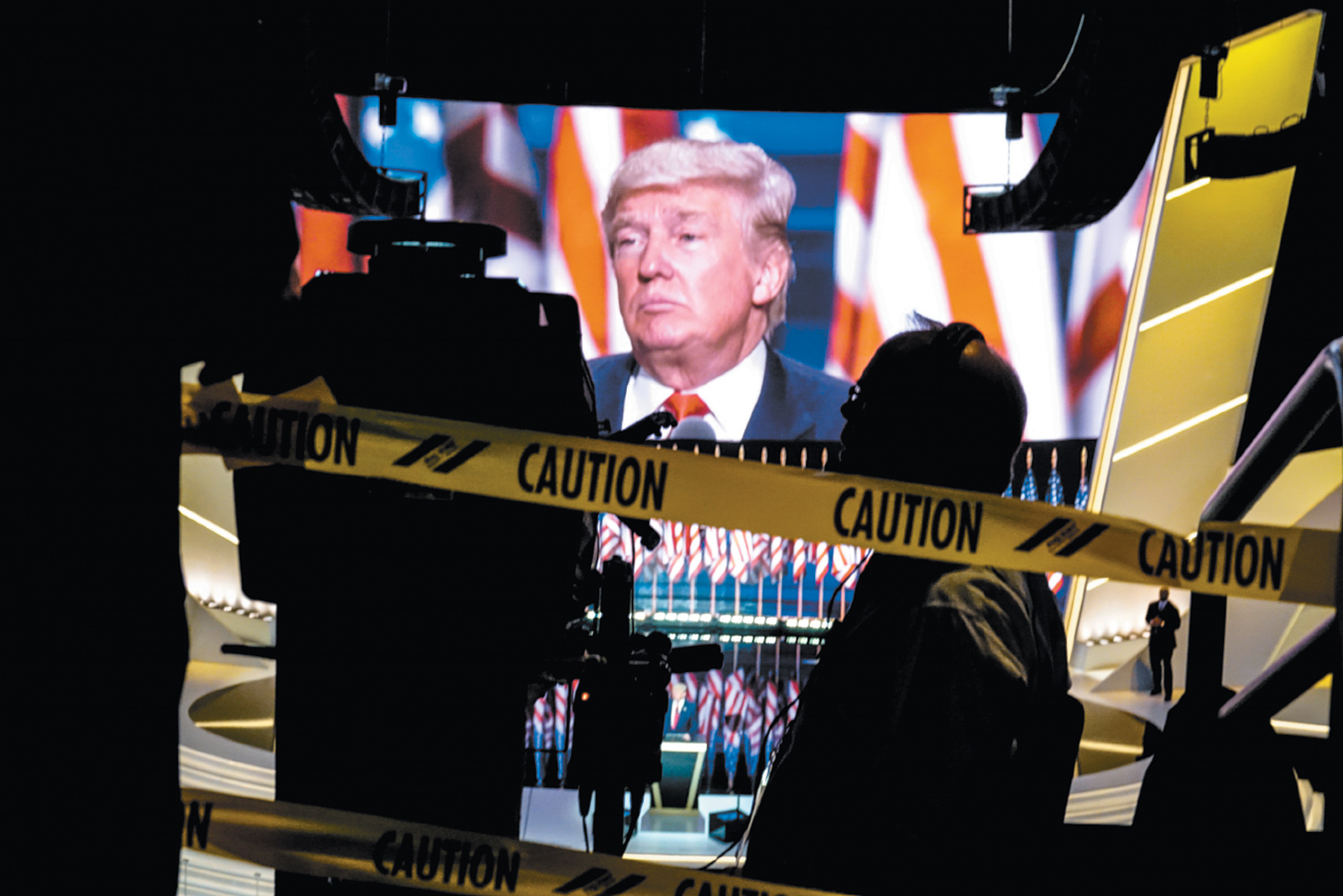 Donald Trump delivering his acceptance speech on the last night of the Republican National Convention, Cleveland, July 2016