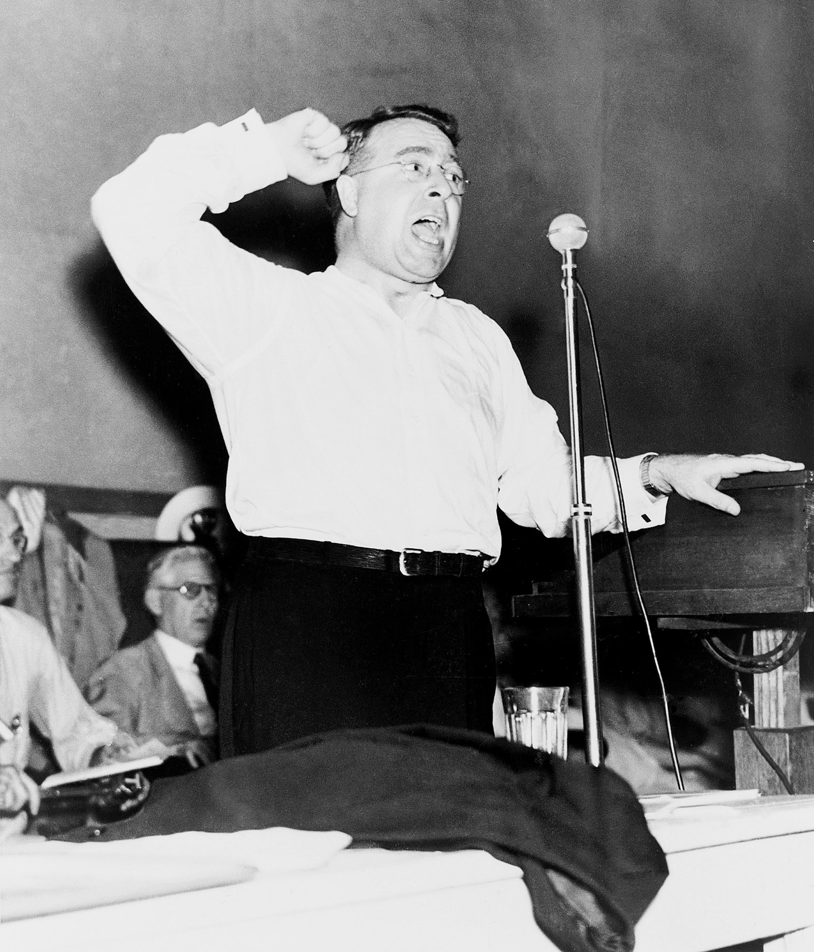 Father Charles Coughlin attacking the Roosevelt administration at the Townsend Convention, Cleveland, Ohio, July 1936