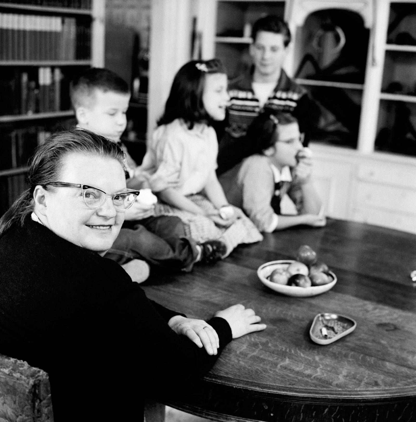 Shirley Jackson with her children, North Bennington, Vermont, 1956