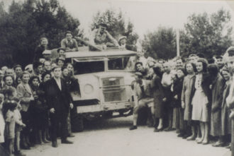 Internees after the liberation by Allied forces of the Ferramonti camp, near Cosenza, Italy, September, 1943