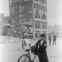 Nurses in front of a shelled building in Dublin after the Easter Rising of 1916