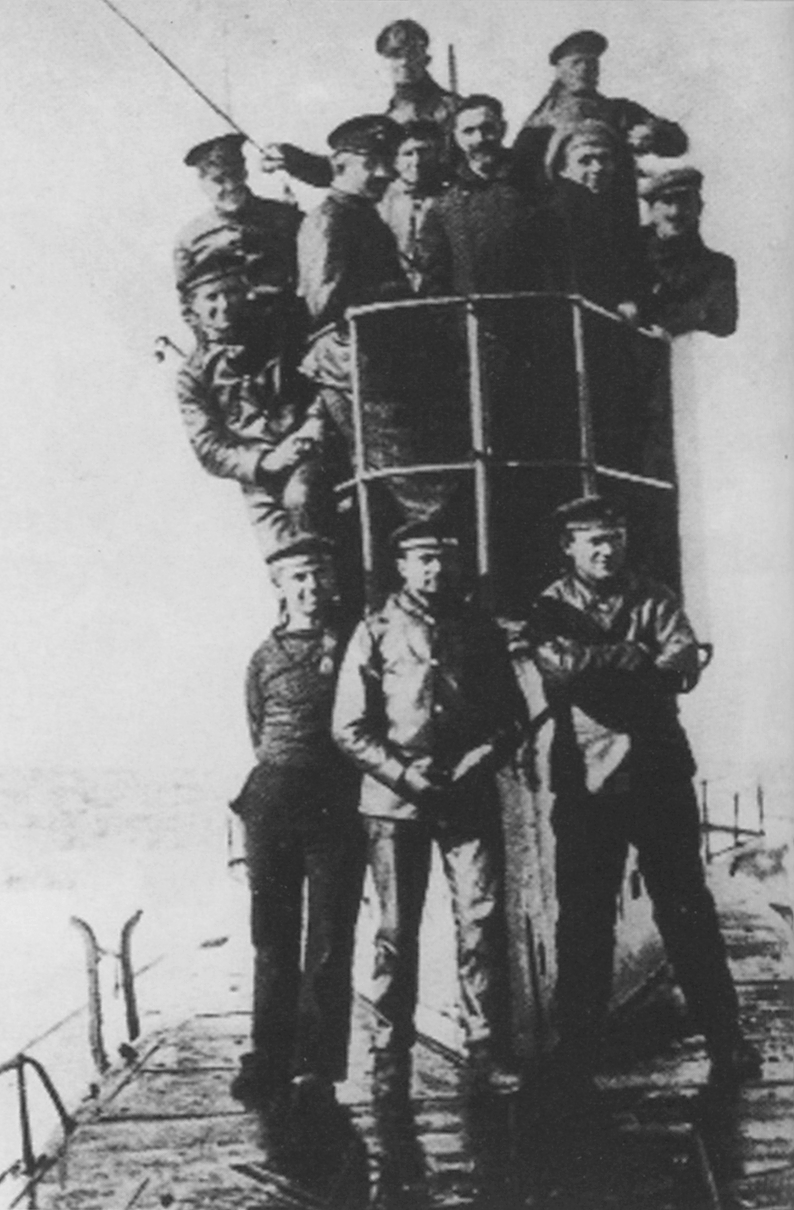 Roger Casement and others on board a German submarine carrying them to Ireland, April 1916