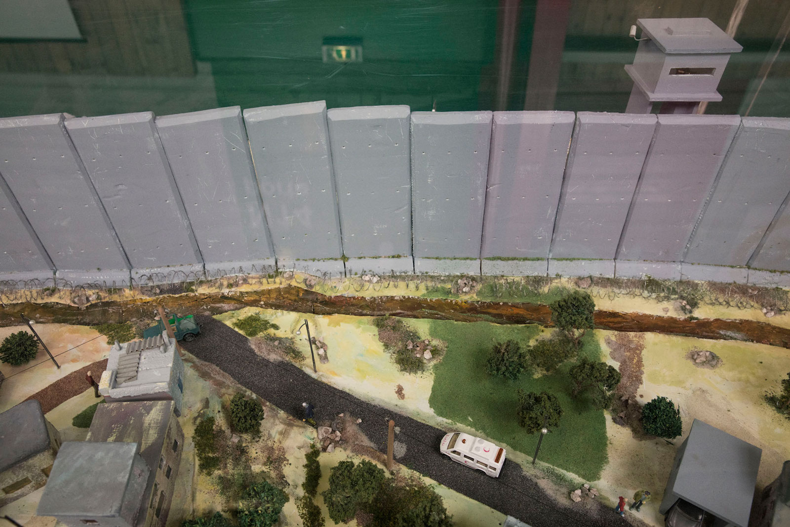 A model of the separation wall in Palestine, Le Bourget, France, May 14, 2016