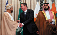 Saudi Defense Minister and Deputy Crown Prince Mohammed bin Salman, right, with Omani Defense Minister Badr bin Saud al-Busaidi and US Secretary of Defense Ashton Carter at the US–Gulf Cooperation Council summit in Riyadh, April 2016