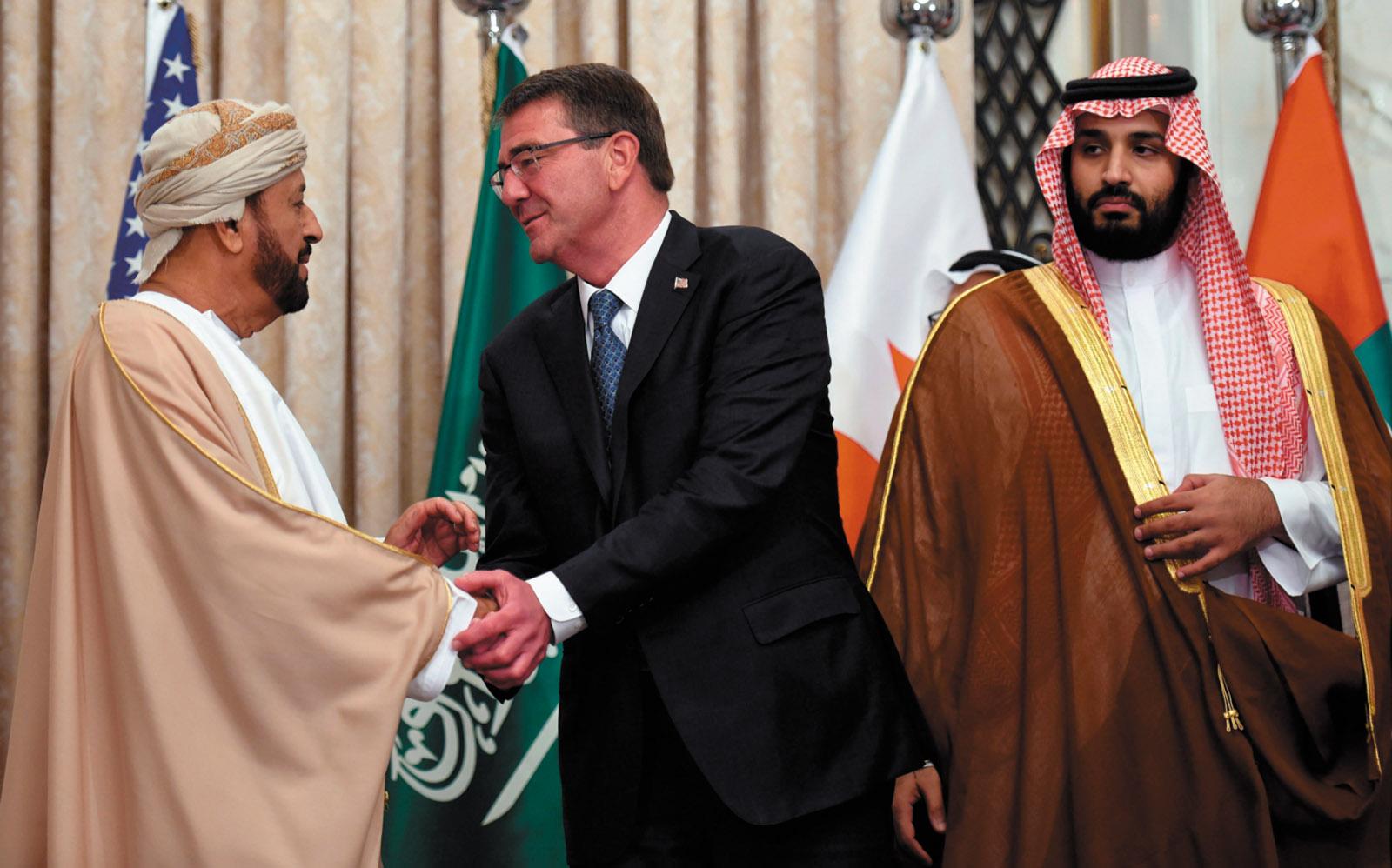 Saudi Defense Minister and Deputy Crown Prince Mohammed bin Salman, right, with Omani Defense Minister Badr bin Saud al-Busaidi and US Secretary of Defense Ashton Carter at the US–Gulf Cooperation Council summit in Riyadh, April 2016