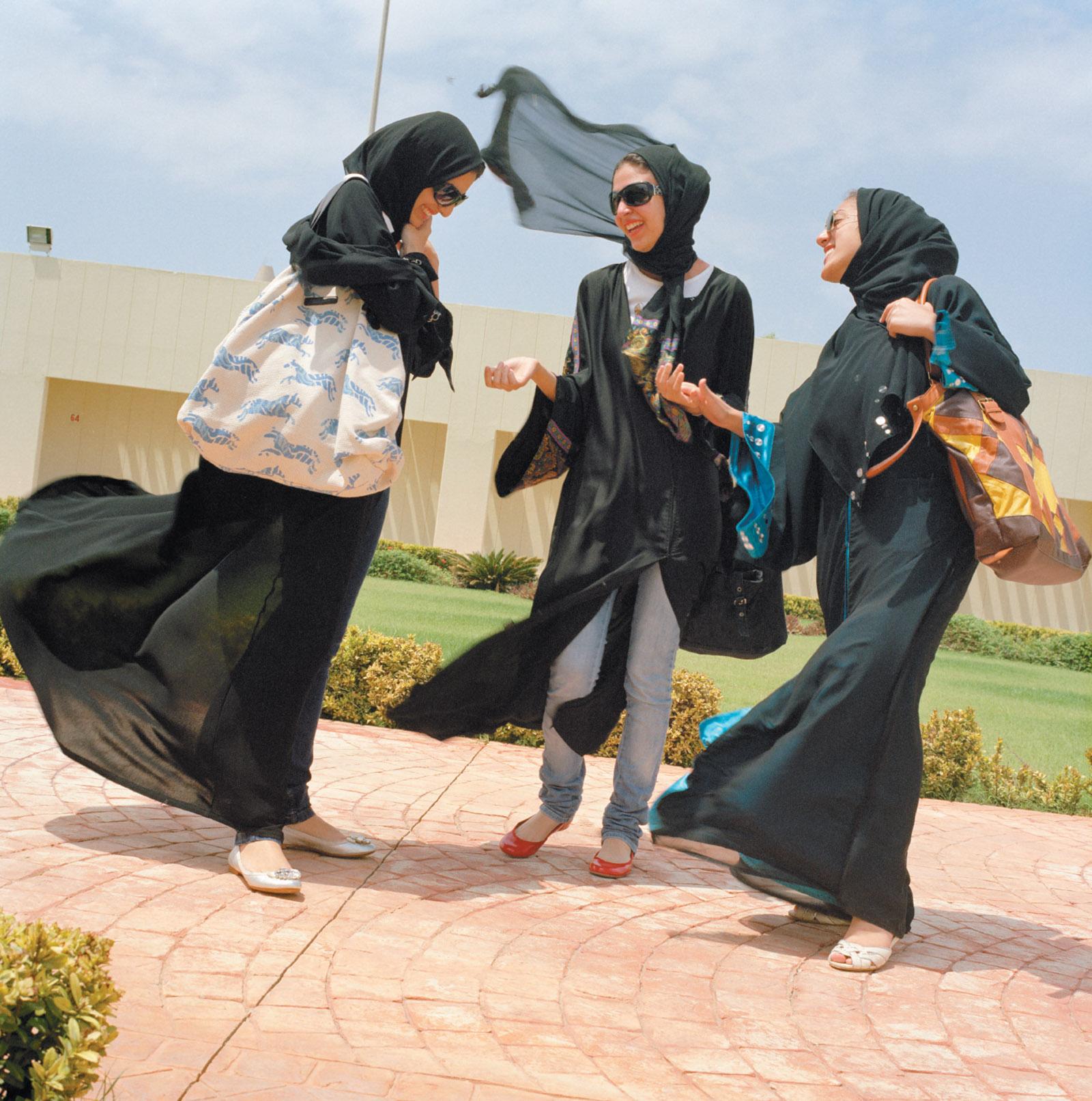 Students at Effat Women's University, Jeddah, Saudi Arabia, 2009; photograph by Olivia Arthur from her 2012 book, Jeddah Diary