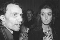 Jacques Rivette and Pascale Ogier, who starred with her mother, Bulle Ogier, in Rivette's film Le Pont du Nord, New York City, 1981