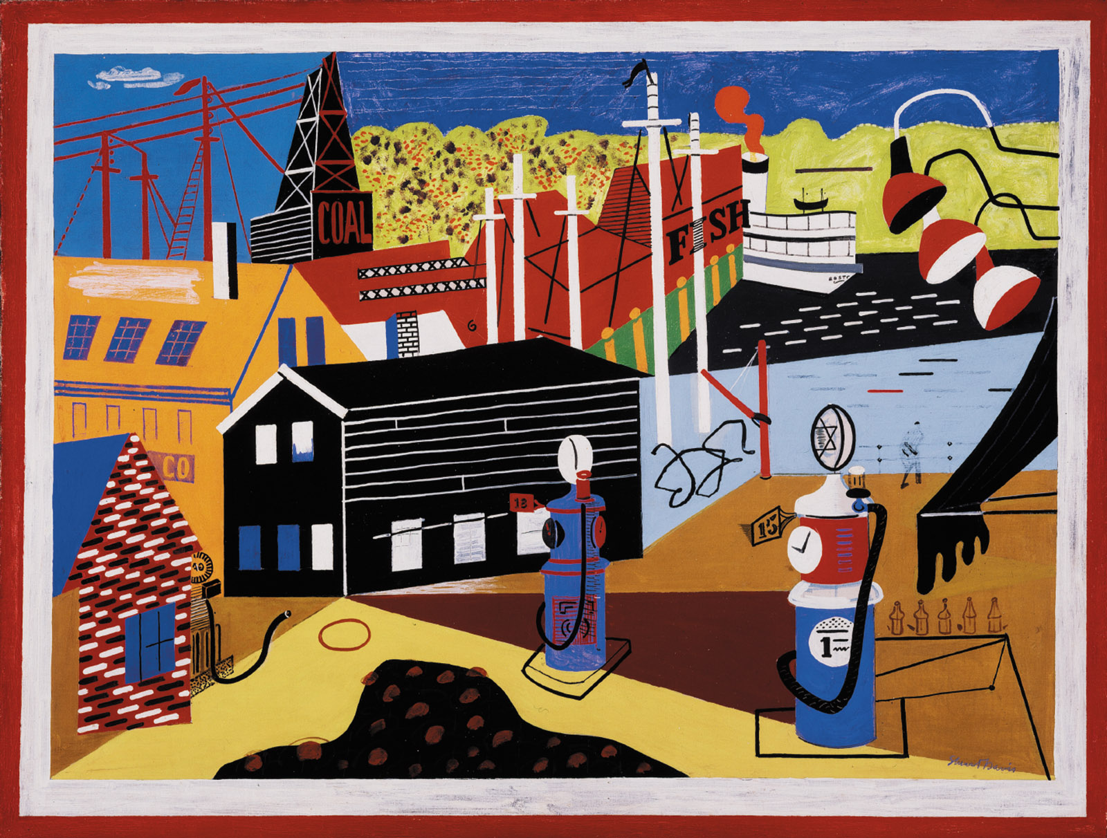 Stuart Davis: Landscape with Garage Lights, 32 x 42 inches, 1931–1932