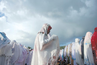 Indonesian Muslims at morning prayers in Yogyakarta during Eid al-Adha, the festival marking the end of the annual Hajj pilgrimage to the Saudi holy city of Mecca, September 2016