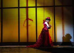 Queen Margaret (Karen Aldridge) grieves a personal loss in the bloodshed of the Wars of the Roses in Barbara Gaines's Chicago Shakespeare Theater production of Henry VI, Part Two, September, 2016