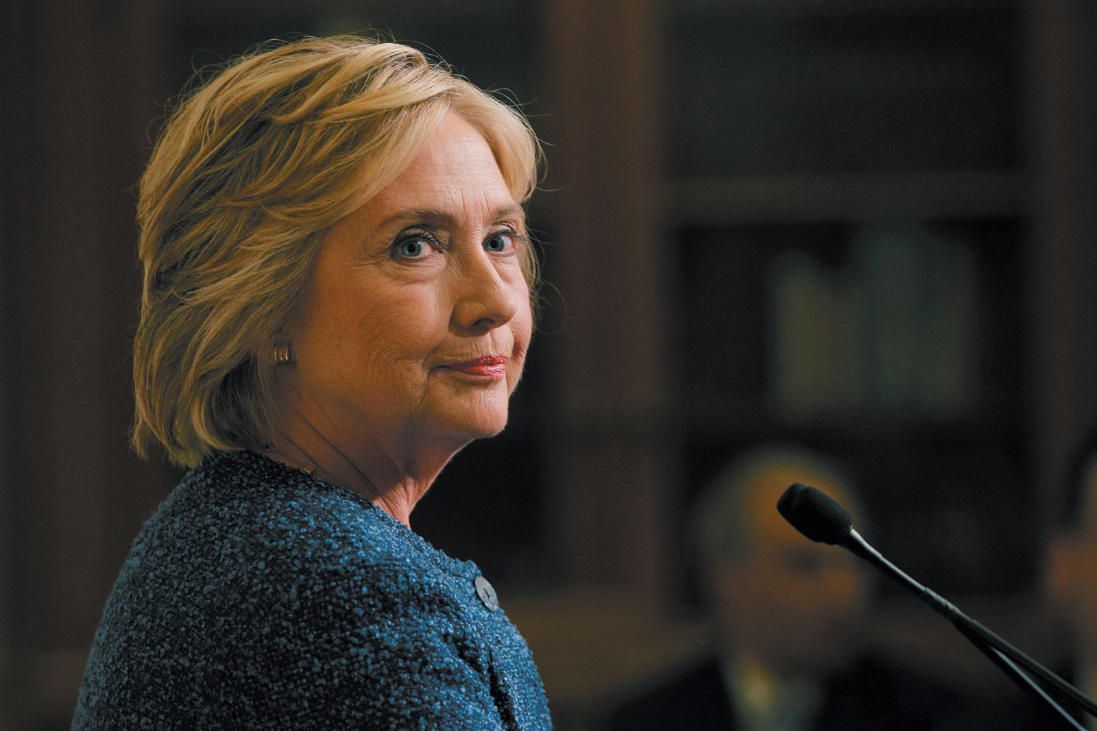 Hillary Clinton talking with reporters after a meeting with her national security advisers, New York City, September 2016