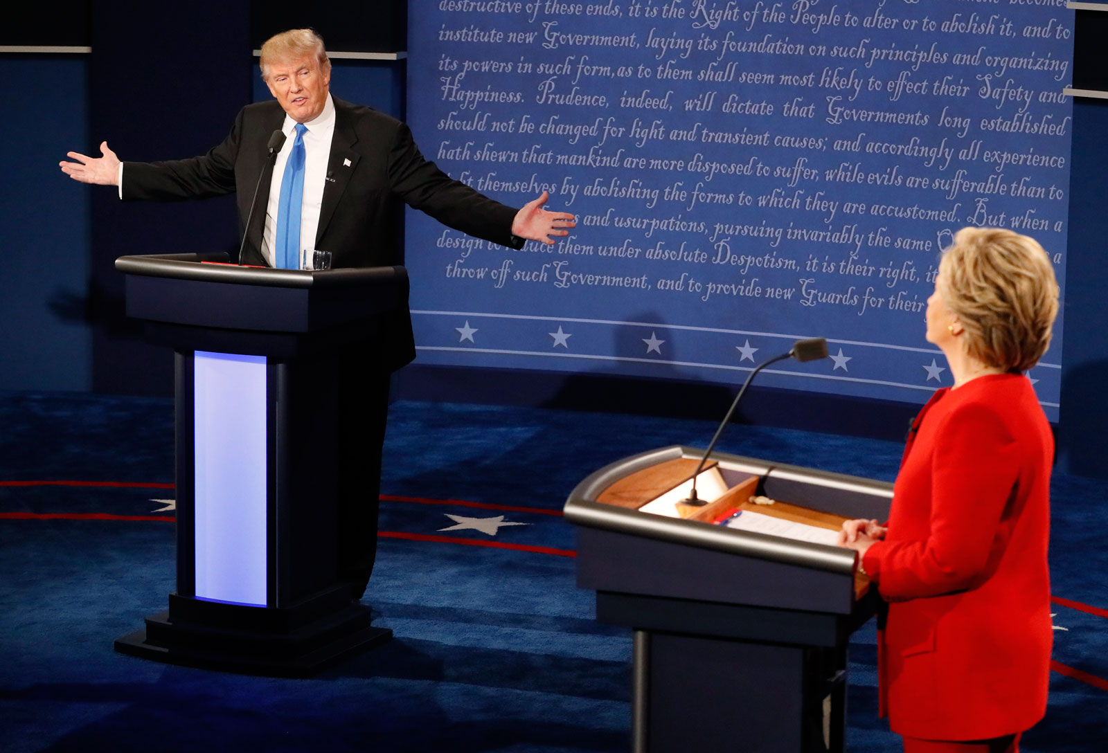 Donald Trump and Hillary Clinton during their first presidential debate, Hofstra University, Hempstead, New York, September 26, 2016