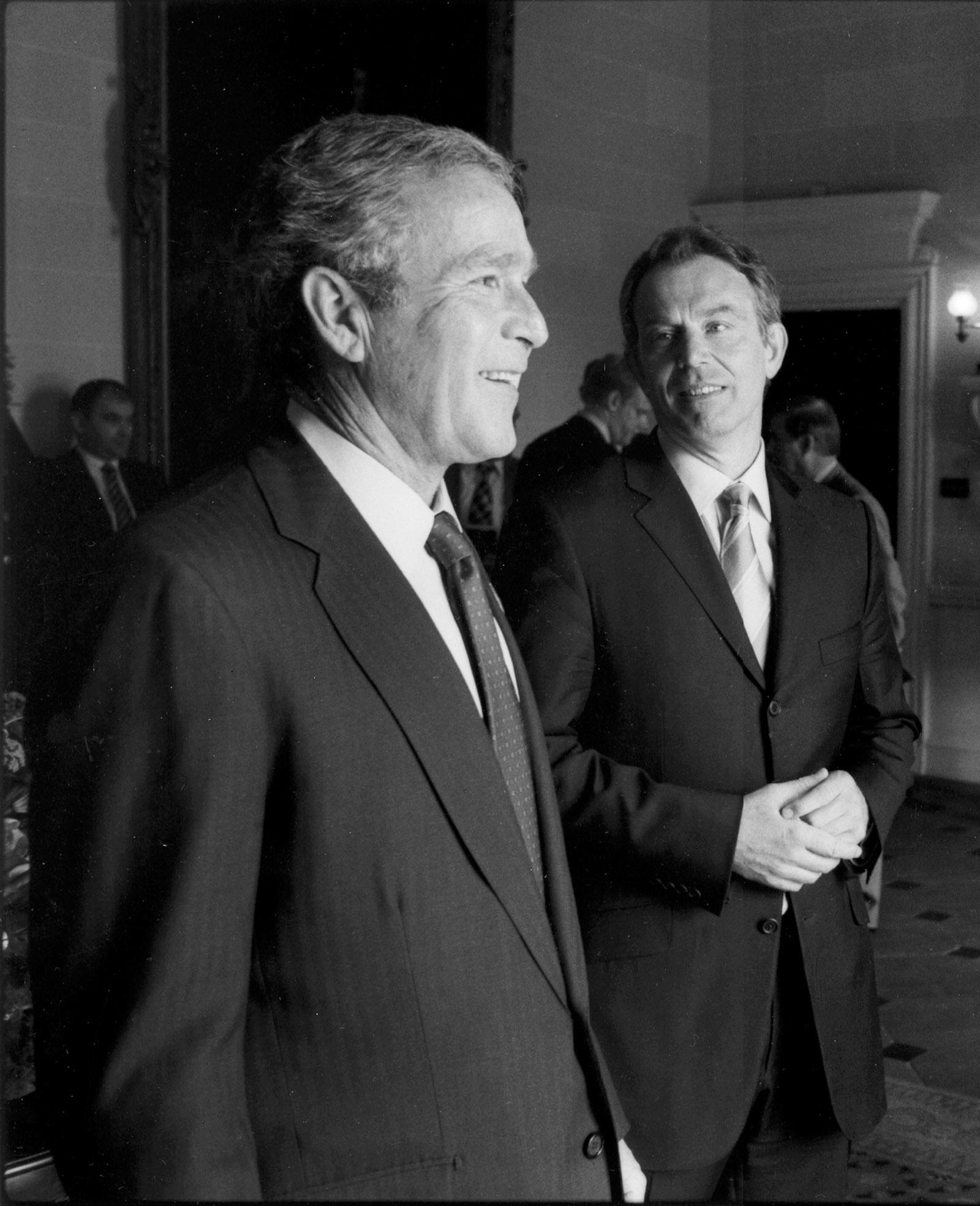President Bush and Prime Minister Blair at Hillsborough Castle, April 2003