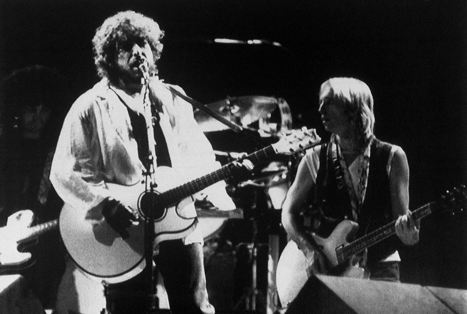 Bob Dylan performing with Tom Petty in Modena, Italy September 13, 1987