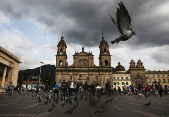 Bolivar Square after Colombia's President Juan Manuel Santos cast his ballot there in the referendum on a peace accord, Bogota, Colombia, October 2,